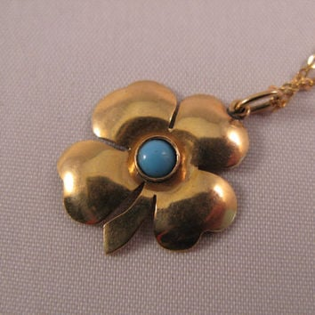 Four leaf Clover 18k solid Yellow Gold Pendant with turquoise - Free 9k Gold Chain - Valentine's Day