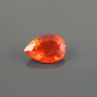 Fire Opal: 0.97ct Red Orange Pear Shape Gemstone, Loose Natural Hand Made Mexican Faceted Precious Gem Polymerclay Resin Necklace Pendent P4