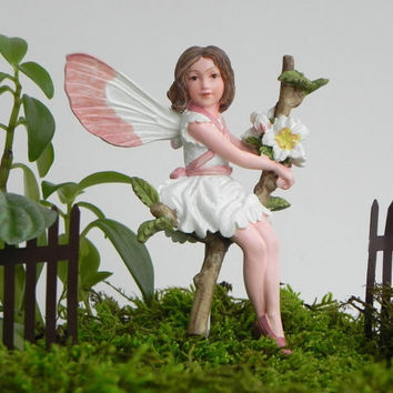 Fairy Accessories, fairy figurine, supply for miniature garden terrarium Cicely Mary Barker Wild Cherry Blossom Fairy cake topper cute fairy