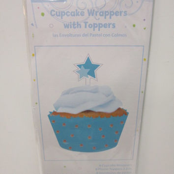 Cupcake Wrapper with Topper Blue