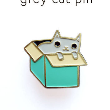 funny enamel pin - grey CAT pin - kawaii cute lapel pin, crazy cat lady gift, cloisonne pin, cat lover gift, cat brooch, cat gift for her