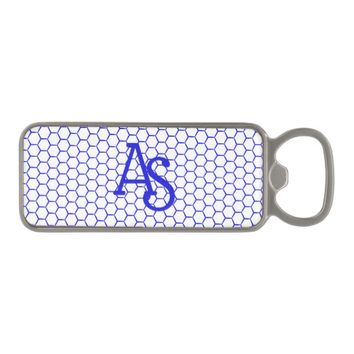Blue pattern. Hexagonal grid. Monogram. Magnetic Bottle Opener