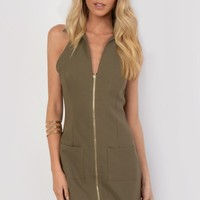 Dana Khaki Front Zipper Shift Dress - Womens Fashion Dresses | South Avenue