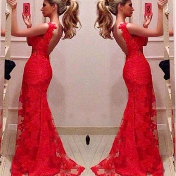 Red Bodycon Mermaid Evening Bridal Party Gowns Long Prom Dresses Custom = 1932476484