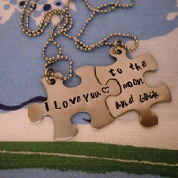 Personalized Hand Stamped Puzzle Piece Necklace Set - Stainless Steel - i love you to the moon and back