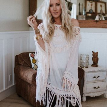 Harmony Crochet Fringed Poncho Top - Natural