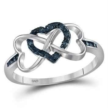 Sterling Silver Women's Round Color Enhanced Blue Diamond Triple Heart Infinity Ring 1/10 Cttw - FREE Shipping (US/CAN)
