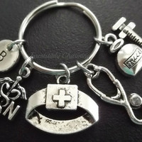 RN Nurse keyring, keychain, bag charm, purse charm, monogram personalized custom gifts, choose your initial style item No.526