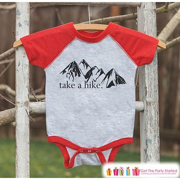 Kid's Take a Hike Outfit - Red Raglan Shirt or Onepiece - Kids Baseball Tee - Hiking Shirt for Baby, Toddler, Youth - Mountains Shirt