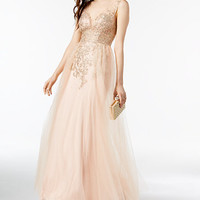 Xscape Sparkle Embroidered Mesh Gown | macys.com