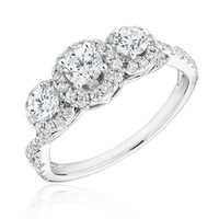 Forever Beautiful Round Three-Diamond Halo Twist Engagement Ring 1ctw