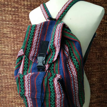 Backpack Tribal Boho southwestern Ethnic Styles Festival Hill tribe Woven fabric design Overnight travel bag Hippies Green blue