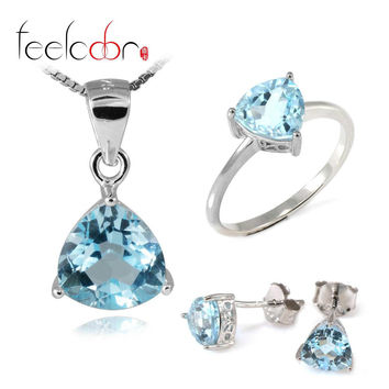 5.4 ct Natrual Topaz Ring Earring Pendant Necklace Jewelry Sets 925 Solid Sterling Silver Trillion Shape Gemstone Women Gift