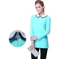 Sky Blue Zipper Back Peter Pan Collar Long Sleeve Shirt