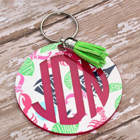 "Personalized Lily Inspired 3"" key chain Monogrammed Key Chain  Lilly Preppy Key Chain Leather tassel Key Fob Chain Preppy Monogram Key Ring"