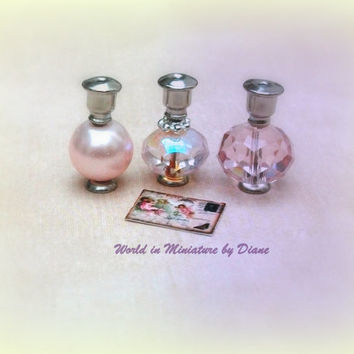 Dollhouse  Perfume Bottles Pink Pearl Dolls house Miniature Perfume 1/12 scale