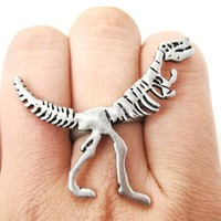 T-Rex Dinosaur Fossil Skeleton Bones Adjustable Ring in Silver