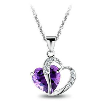 Heart Necklace for women love diamond heart necklace Amethyst Crystal
