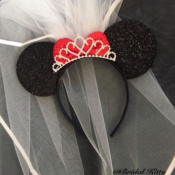 Disney Bride Minnie Mouse Ears Tiara Headband With Veil Disney Wedding Veil  & Rhinestone Crown Disney Bachelorette Party Veil Mickey Mouse