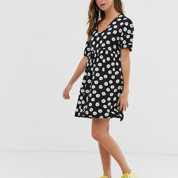 Wednesday's Girl mini smock dress in daisy polka dot | ASOS