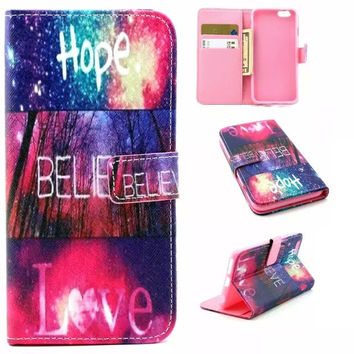 Hope Believe Love Case Cover PU Leather Wallet for iPhone & Samsung Galaxy S6  iPhone 6s Plus