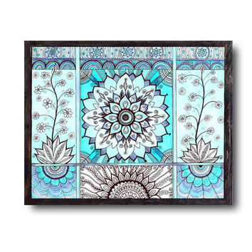 Sky Blue Mandala Wall decor - Flowers Abstract Art - Pencils illustration - Large giclee PRINT - Mandala Hippie Drawing - Peaceful art print