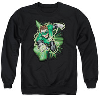 JLA/GREEN LANTERN ENERGY - ADULT CREWNECK SWEATSHIRT - BLACK -