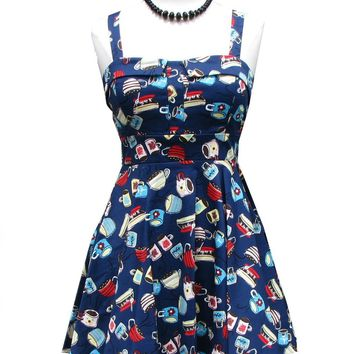 Coffee Cup Shop Navy Blue Dress swing A-Line Traveling kitsch pinup Rockabilly