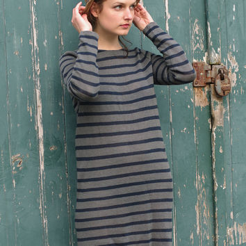 Nautical Linen Dress. Navy + Grey