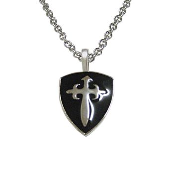 Black Medieval Shield Pendant Necklace