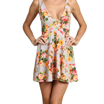 Sleeveless Floral Print Fit & Flare Cocktail Dress