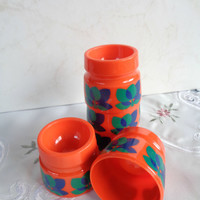 Vintage Stackable Egg Cups Emsa . Vintage Plastic Egg Cups .Orange with Blue and Green Tulip Pattern . Set of Five .
