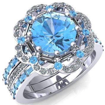 Camelia Round Aqua Blue Spinel Accent Diamond and Aqua Blue Spinel Halo Ring