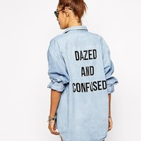 Milk It Oversized Boyfriend Denim Shirt With Back Slogan Print