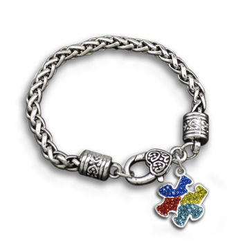 Multi Color Rhinestone Autism Awareness Charm Bracelet