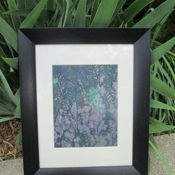 "Batik, INDIGO HANDMADE, Original 11 x 14  black frame, created in gardens, colorful dyes, matted, entitled ""Life Power"". Signed by artist."