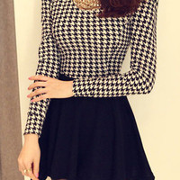 Black Houndstooth Print Long Sleeve A-Line Mini Skater Dress