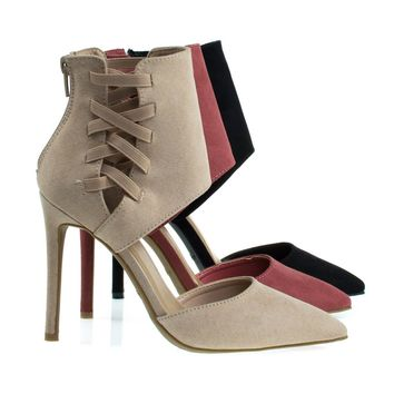 Worship37s Nude By Anne Michelle, Pointy Toe Pump w Ankle Height Cuff w Elastic Strap D'Orsay Cut