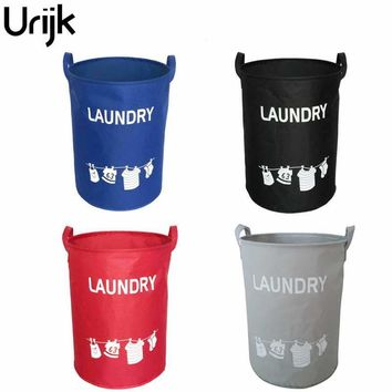 Urijk Foldable Cotton Linen Laundry Basket Washing Clothes Storage Basket For Toys Hamper Storage Bags Waterproof Basket