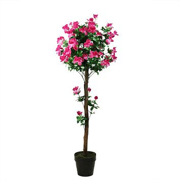"54.5"" Decorative Potted Artificial Green and Pink Azalea Flower Tree"