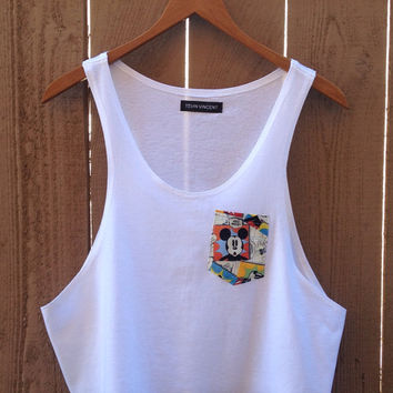 Comic Mickey mouse printed pocket cropped tank top