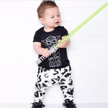 2017 New summer baby boy girl clothes star wars printing t-shirt+pants newborn clothes Infant clothing set casual outfits