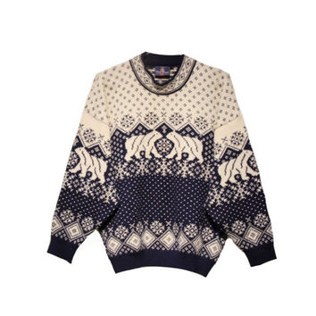Vintage Polar Bear Nordic Sweater / Size Large / Skjaeveland Norwegian Sweater