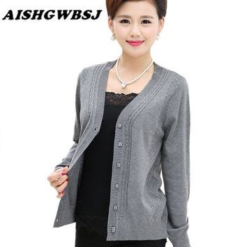AISHGWBSJ Autumn Solid Mother Sweater Coat Women Knitted Sweater Cardigan V-Neck Long Sleeve Open Stitch Plus Size QYX101
