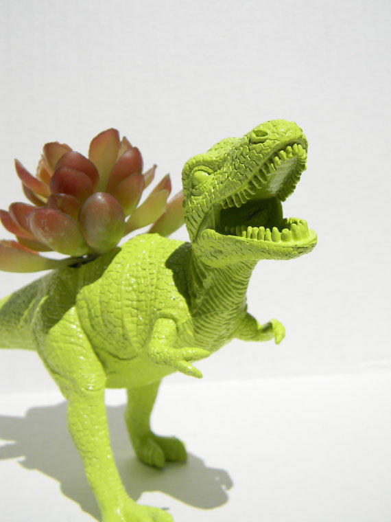 Dinosaur Planter Trex Bright Lime Green From Crazycouture