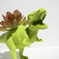 Dinosaur Planter TREX Bright Lime Green Ready to Plant and Display at Work or Home Great
