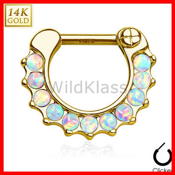 14k Gold Ring 16G 14G Solid Yellow Gold Septum Clicker Opal Ring Nipple Ring Cartilage Helix Hex Piercing Tragus Jewlery Conch Ring