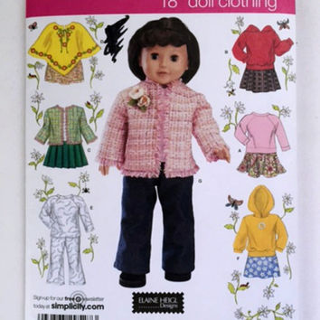 Simplicity 4297 Sewing Pattern Doll Clothing Fit 18 inch Dolls Clothes Poncho Shirt Jacket Pants Sweatshirt New Uncut