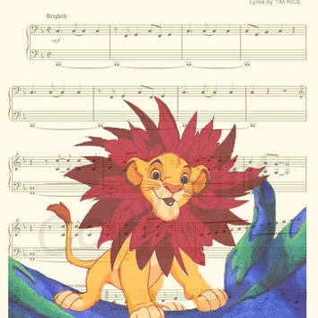 The Lion King I Just Can't Wait To Be King Sheet Music Art Print