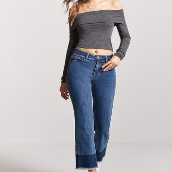 Foldover Off-the-Shoulder Crop Top